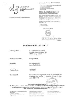 Prüfbericht-Nr.E189-21-RCL-1